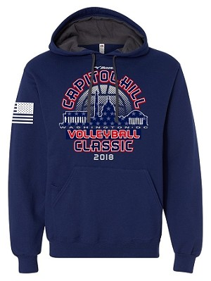 2018 Capitol Hill Classic Hooded Sweatshirt Brick Heather and Admiral Blue