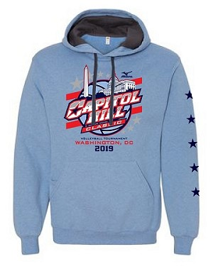 2019 Capitol Hill Classic Hooded Sweatshirt with Contrast Hood, Carolina Heather and Navy Oxford