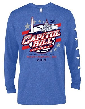2019 Capitol Hill Classic Long Sleeve Ring Spun T-Shirt in Royal Heather and Heather Graphite