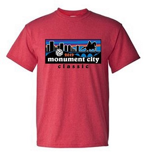 2019 Monument City Classic Short Sleeve T-Shirt available in Metro Blue or Heather Red